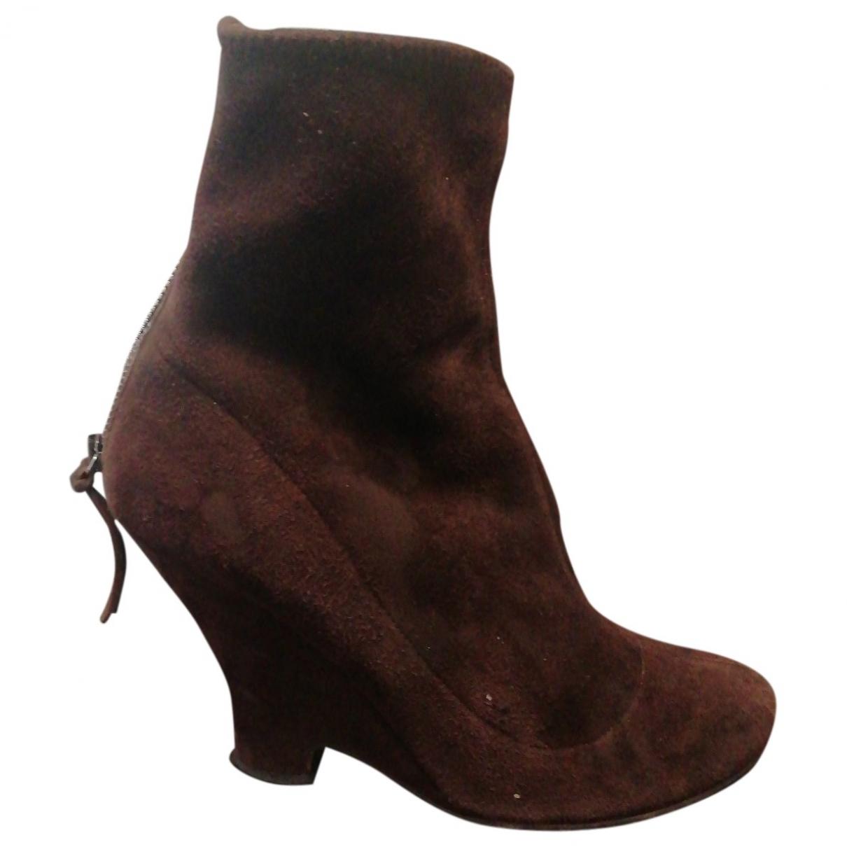 Miu Miu \N Brown Suede Ankle boots for Women 38.5 EU