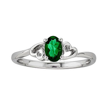 Womens Lab Created Green Emerald Sterling Silver Solitaire Cocktail Ring, 5 , No Color Family