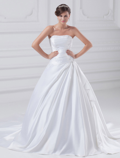 Milanoo White Ball Gown Beading Satin Wedding Dress For Bride