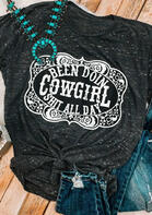 Western Cowgirl T-Shirt Tee - Gray