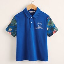 Boys Tropical & Slogan Graphic Polo Shirt