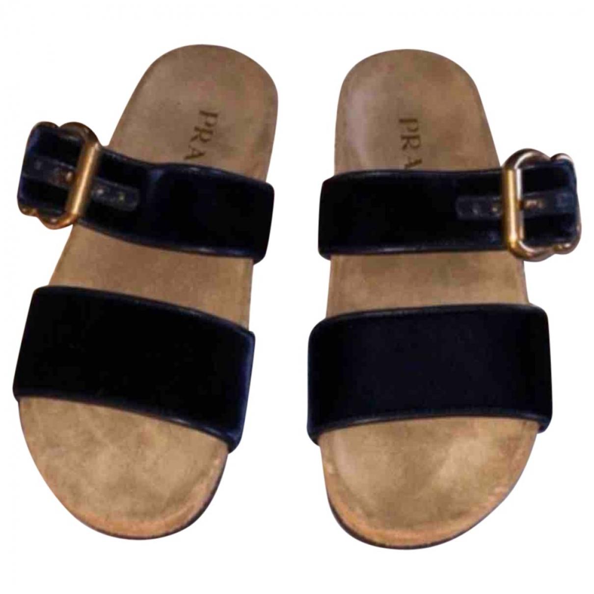 Prada - Sandales   pour femme en velours - marine