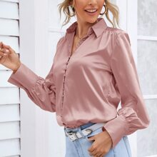 Solid Covered Button Satin Blouse