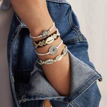 4 Stuecke Armband mit Muschel & Schildpatt Dekor und Schnur