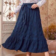 Plus Self Belt Maxi Skirt