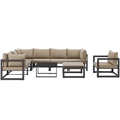 Fortuna Collection EEI-1734-BRN-MOC-SET 9-Piece Outdoor Patio Sectional Sofa Set with Ottoman  Side Table  Single Sofa  3 Center Sections and 3