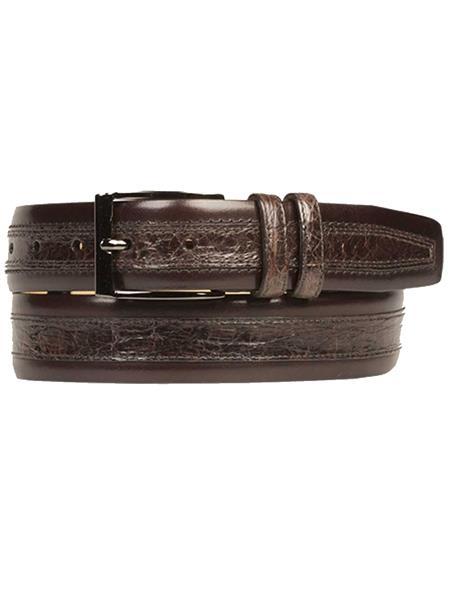 Mezlan Brand Men's Genuine Crocodile / Calfskin Brown Skin Belt