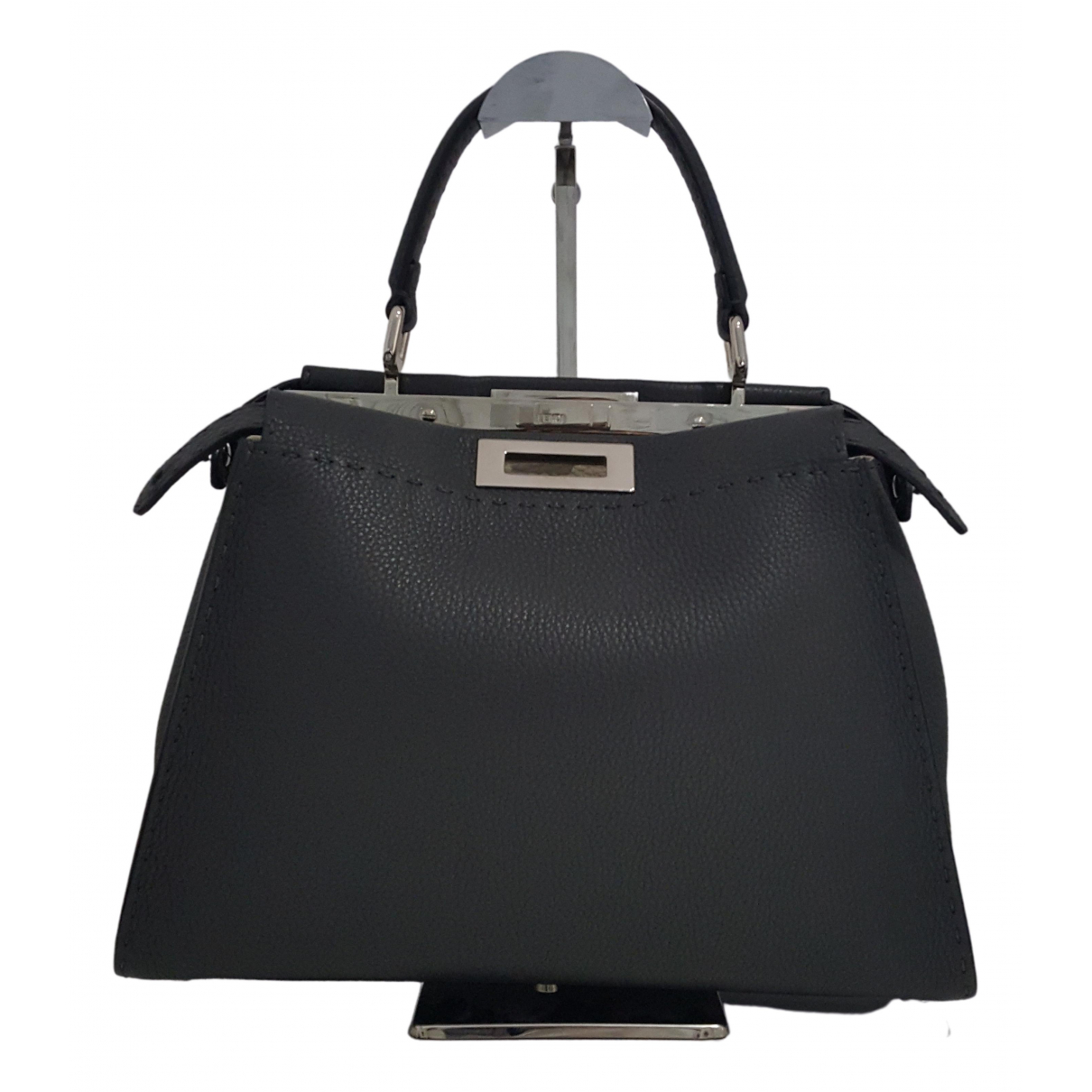 Fendi Peekaboo Handtasche in  Grau Leder