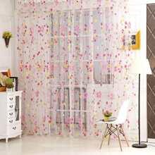 Calico Overlay Sheer Mesh Curtain 1pc