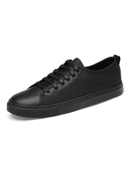Milanoo Sneakers For Men Cozy Cowhide Round Toe Casual Street Wear Shoes