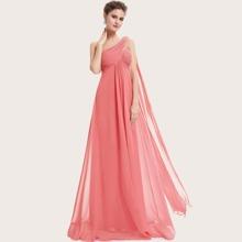 Kleid mit Ruesche, einer Schulter frei und Cape