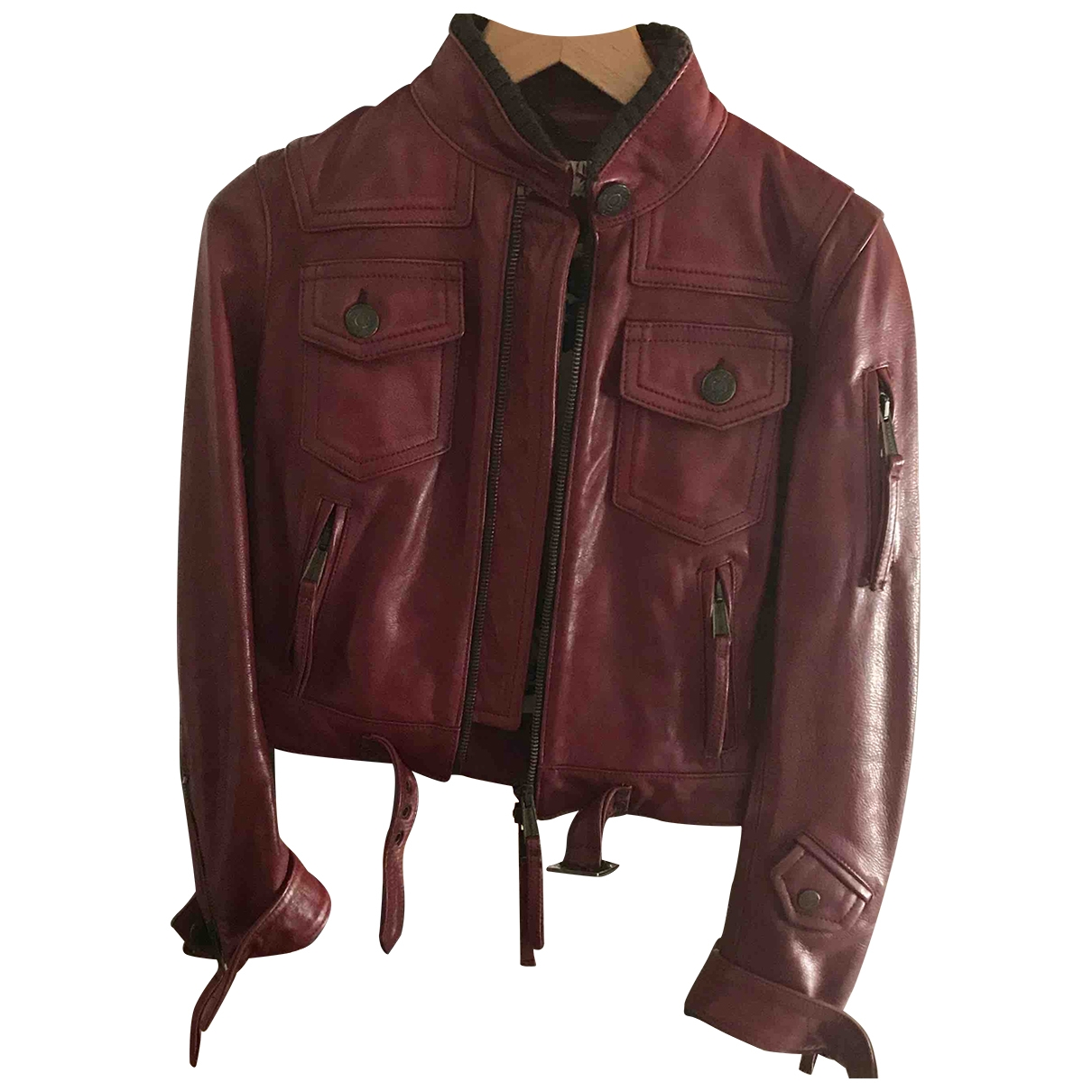 Dsquared2 \N Burgundy Leather Leather jacket for Women 44 IT