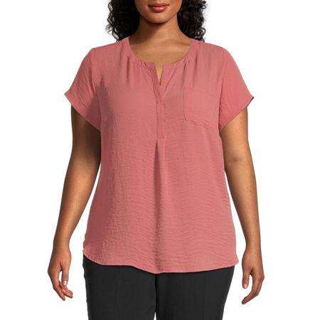 Liz Claiborne Cap Sleeve Popover - Plus, 3x , Red