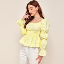 Flounce Sleeve Ruched Bust Shirred Panel Peplum Top