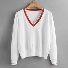 Plus Contrast Trim V-neck Sweater