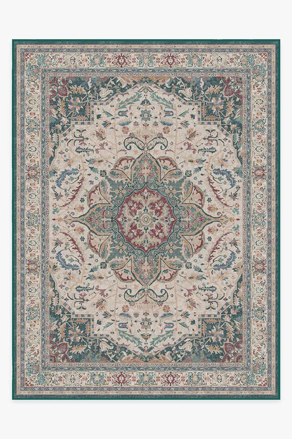 Washable Rug Cover | Malileh Heriz Emerald Rug | Stain-Resistant | Ruggable | 9'x12'