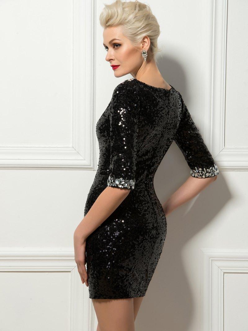 Sexy Sheath Bateau Crystal Sequins Mini Cocktail Dress