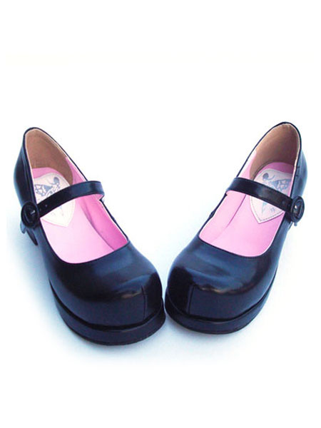 Milanoo Matte Black Lolita Square Heels Shoes Ankle Strap Buckle Round Toe