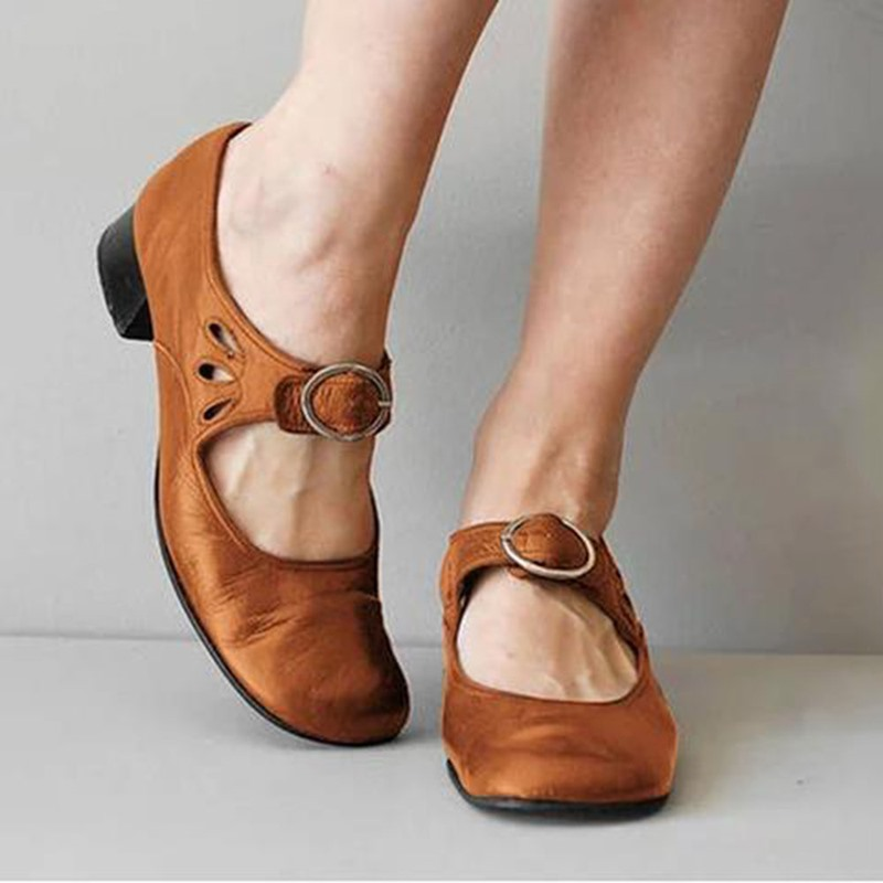 Ericdress Buckle Wedge Heel Buckle Low-Cut Upper Thin Shoes