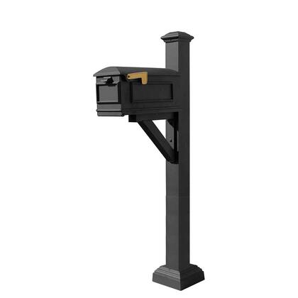 WPD-SC2-S7-LMC-BLK Westhaven System with Lewiston Mailbox  Square Collar & Pyramid Finial in