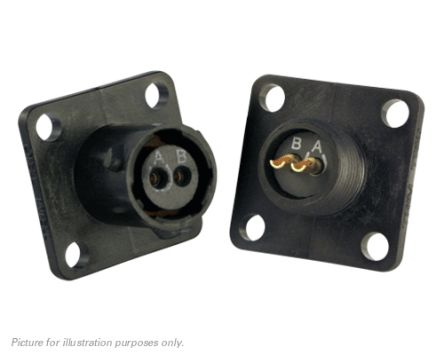 Souriau , UTS 2 Way Flange Mount MIL Spec Circular Connector Receptacle, Socket Contacts,Shell Size 8, Bayonet,