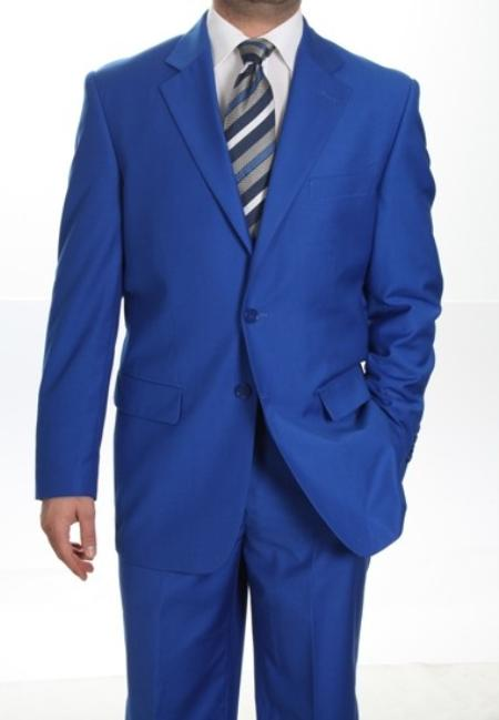 Mens Two Button Suit Royal Blue