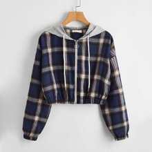 Plaid Zipper Hooded Jacket