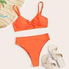 Bikini Badeanzug mit Ausschnitt, Ring und hoher Taille