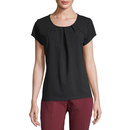 Liz Claiborne Texture Tee Womens Crew Neck Short Sleeve Knit Blouse, X-small , Black