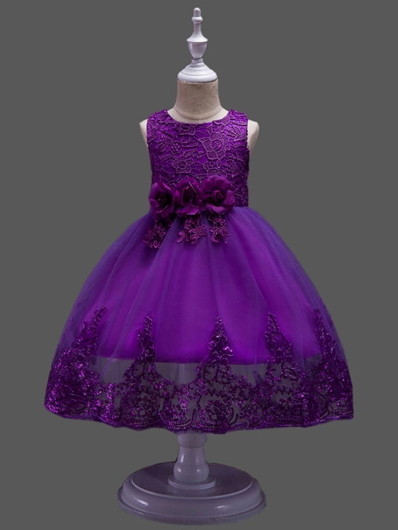 Ericdress Mesh Patchwork Lace Girl's Sleeveless Ball Dress