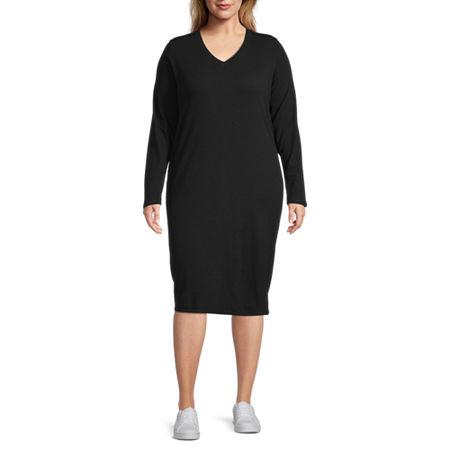 Stylus Long Sleeve Midi T-Shirt Dress - Plus, 1x , Black