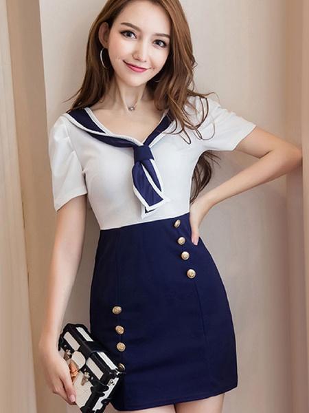 Milanoo Mini vestido marinero azul 2020 dos tonos manga corta botones vestido corto para mujeres