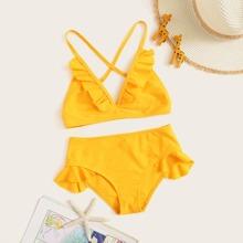 Maedchen Dreieckiger Bikini Set mit Raffungsaum