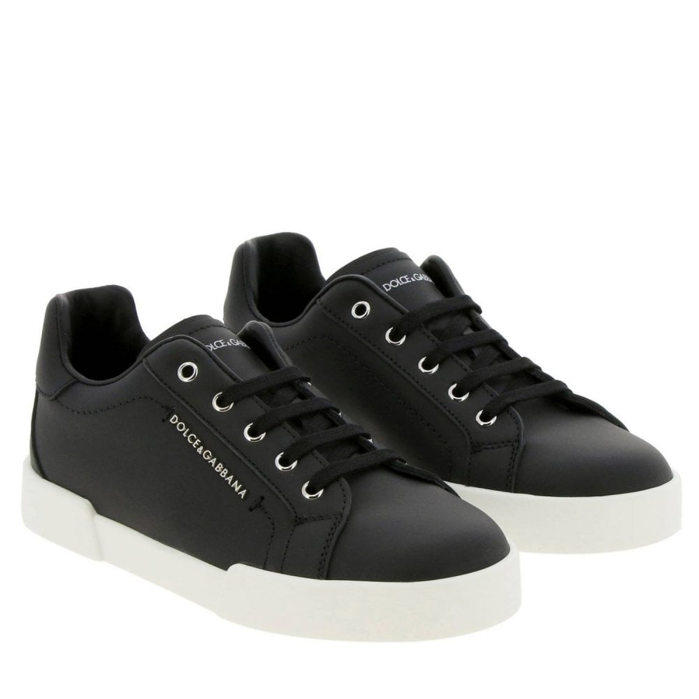 Dolce & Gabbana Black Leather Trainers Colour: BLACK, Size: 35