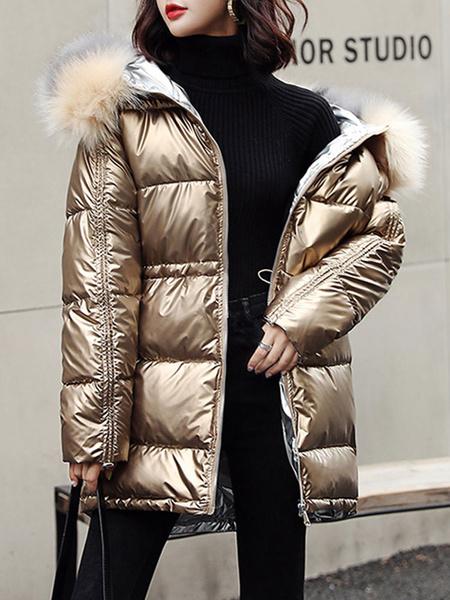Milanoo Women Puffer Coats Blue Pockets Hooded Zipper Long Sleeves Quilted Winter Coat