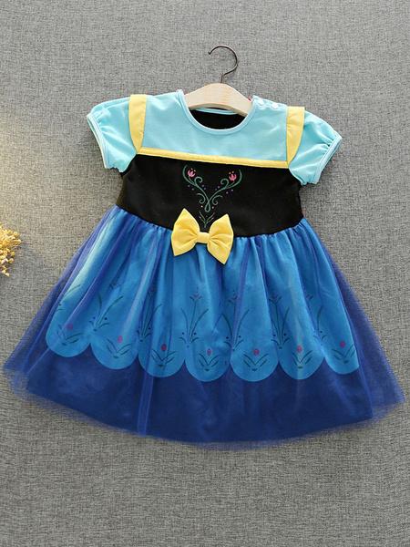 Milanoo Disney Princess Series Child Short Sleeve Dress Anna Cosplay Snow White High Dress Skirt Halloween Performance Costume