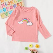 T-Shirt mit Regenbogen Muster und rundem Kragen