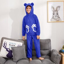 Boys Bear Claw Pattern Teddy Hoodie & Pants PJ Set