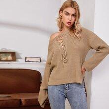 Pullover mit Band vorn und Stufensaum