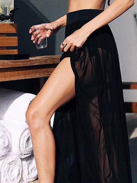 Yoins Black Pleated Design Stretch Waistband Skirt
