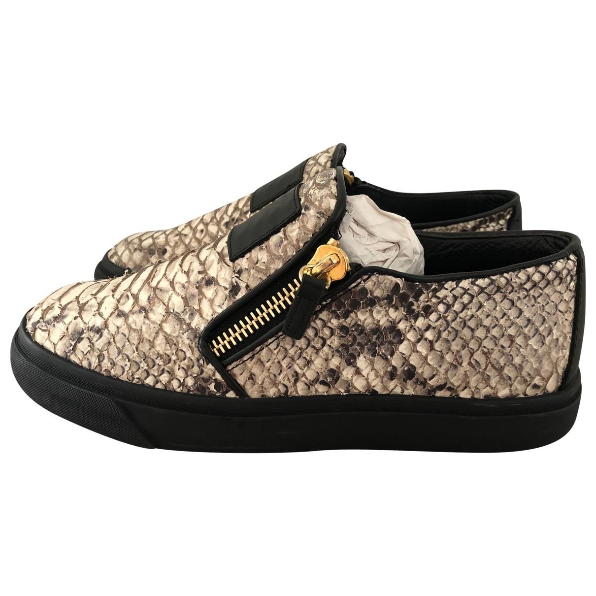 Giuseppe Zanotti Nicki Sneakers in  Beige Leder
