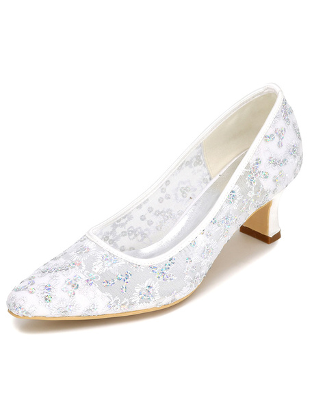 Milanoo Embroidered Lace Wedding Shoes Mid Heel Pumps Bridal Shoes