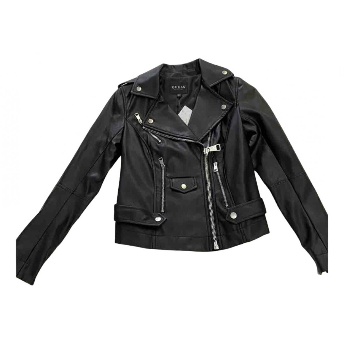 Guess - Veste   pour femme en cuir - noir