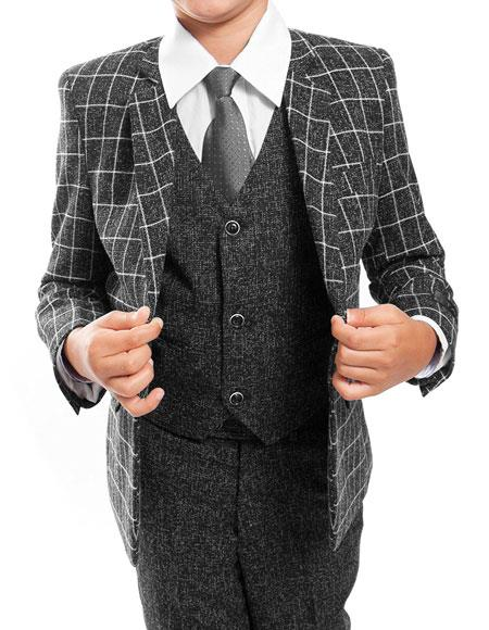 Boys Kids Children Toddler Plaid Windowpane Pattern Vested Grey Suit