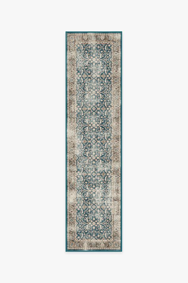 Washable Rug Cover   Celestine Teal Blue Rug   Stain-Resistant   Ruggable   2.5'x10'