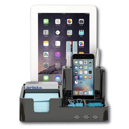 All-In-One Desk Organizer & Docking Station/Stand for Tablets/Smartphones with 3 USB ports