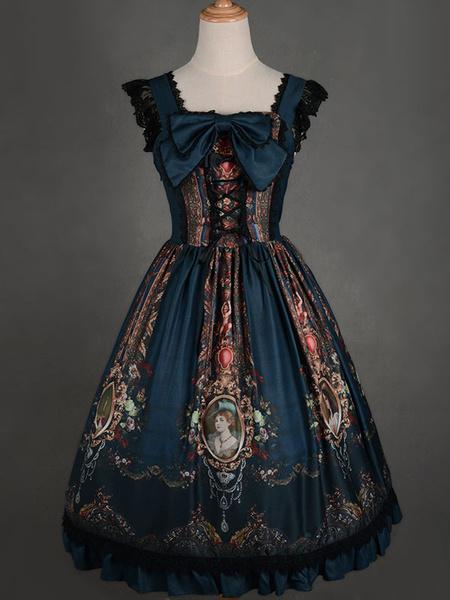 Milanoo Rococo Lolita Dress JSK Lost In Rococo Silk Lace Up Bow Ruffled Printed Lolita Jumper Skirt Original Design