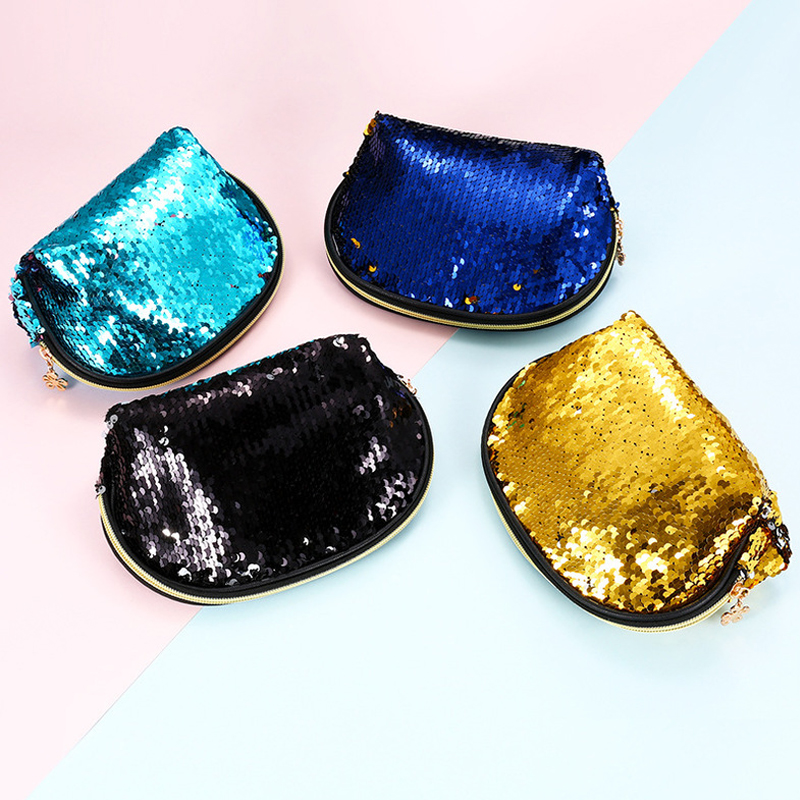 Sequined Mermaid Shell Clutch Bag Evening Bag Cosmetic Bag