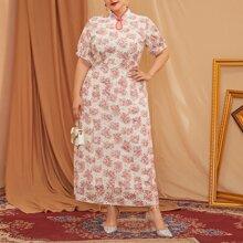 Vestido de cuello mandarin con bordado con ojal floral