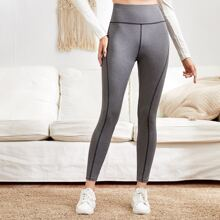 Leggings mit breitem Taillenband und Kontrast Stich